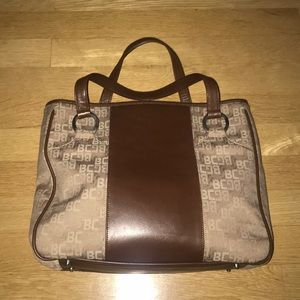 Excellent condition BCBG brown canvas/leather tote